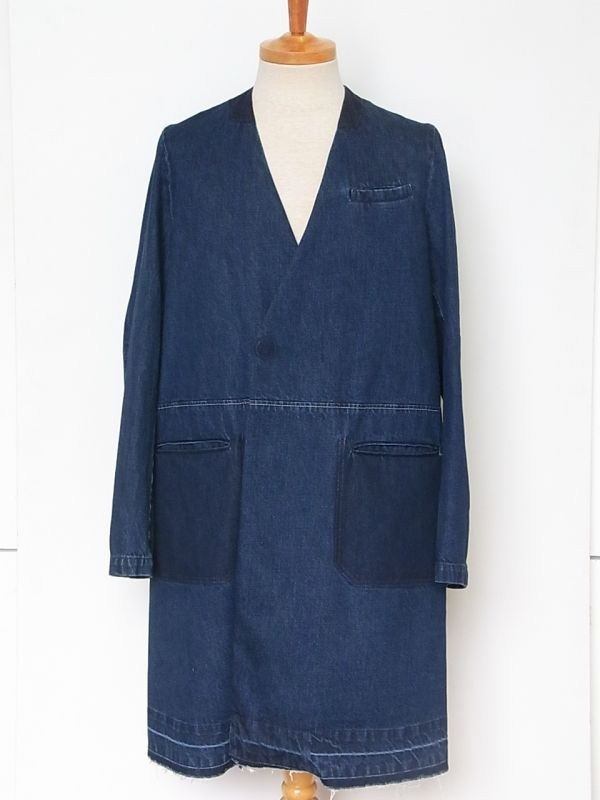 画像1: john undercover/ジョンアンダーカバー  collarless denim chester field coat.